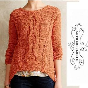 Anthropologie Moth burnt orange cable knit sweater